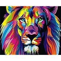 Suntown Dipingere con i numeri 40 x 50cm Cornice Di Legno Pittura su tela per Adulti e Bambini con colori acrilici e 3 spazzole - Astratto re leone