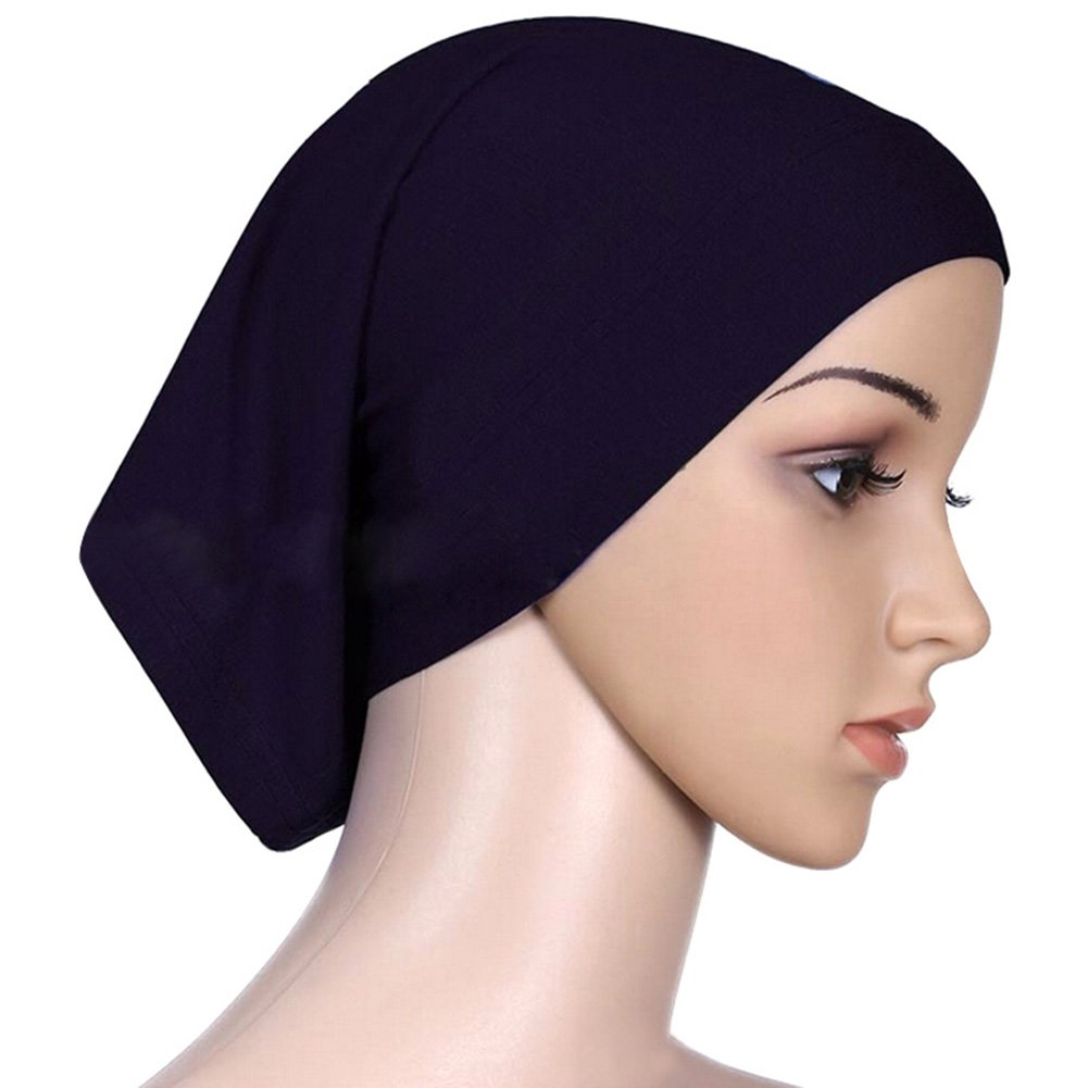 SZTARA Islamic Tube Cap Solid Colored Mercerized Cotton Chemo Head Scarf for Cancer Patients Black