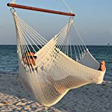 Caribbean Hammocks Jumbo Chair with Footrest - 55 inch - Soft-Spun Polyester - White