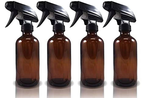 4ad3aa83079e Large 8 oz Brown Amber Glass Spray Bottles with Chalkboard Labels (4 Pack),  BPA Free for Essential Oils, Aromatherapy and Natural Cleaning Products. ...