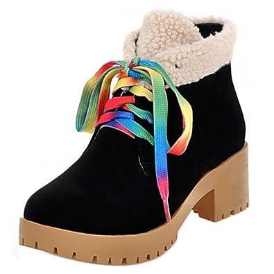 RAZAMAZA Moda Zapatos de Botines Clasicos de Tacon Ancho Botas para Mujer (43 AS,