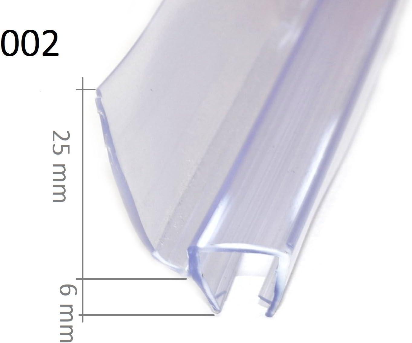 Bagnoxx 1x Joint de douche rond /épaisseur en verre de 6mm Long de 100 ou 200cm Profil de douche L/èvre de douche en PVC Transparent 100