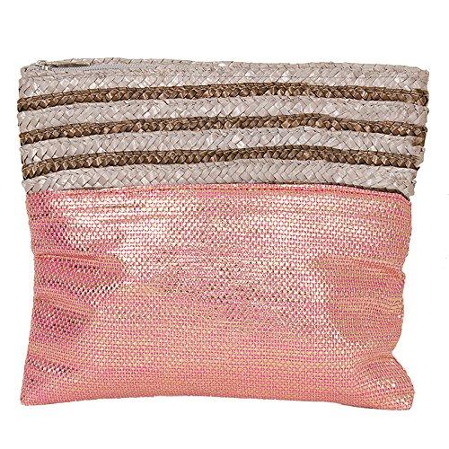 La Paz Straw Trim Pink Metallic Clutch