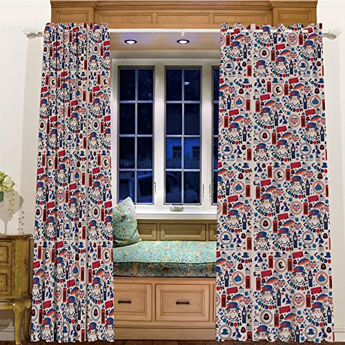 Printed Blackout Curtains Grommet Thermal for Small Windows 2 Drapes,105