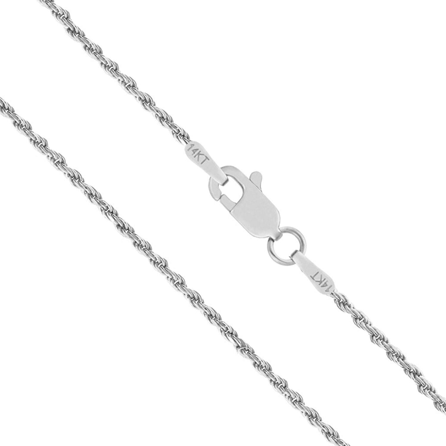 14K Yellow or White Gold 1.50mm Shiny Hollow Rope Chain Necklace for Pendants and Charms with Lobster-Claw Clasp 16, 18 or 20 inch