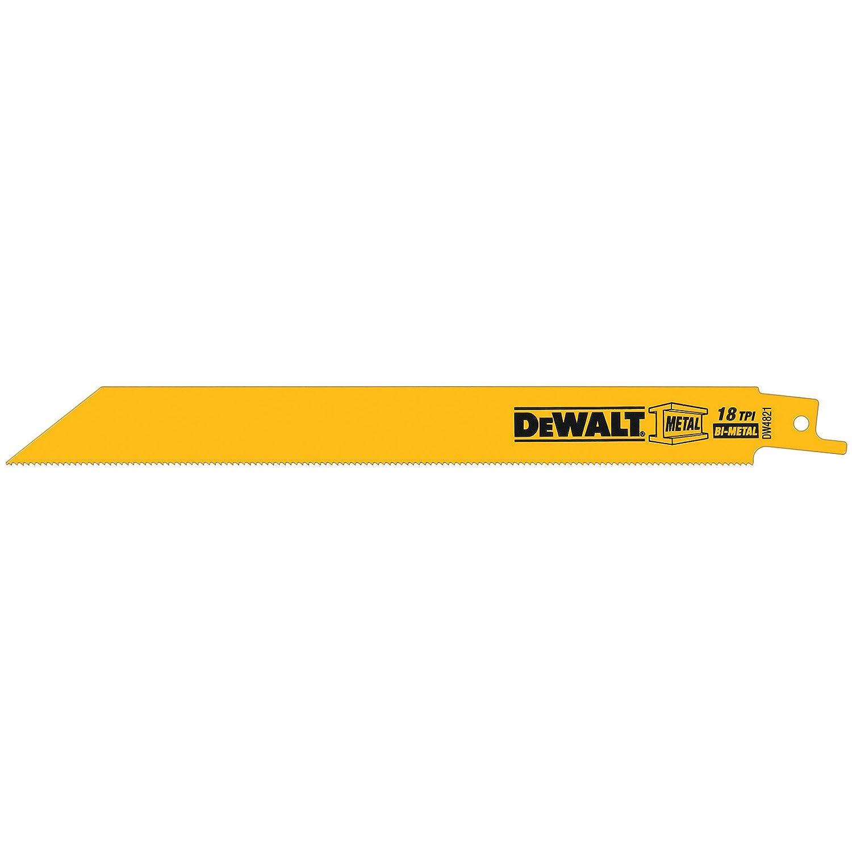 DEWALT DW4821 8-Inch 18 TPI Straight Back Bi-Metal Reciprocating Saw Blade (5-Pack)