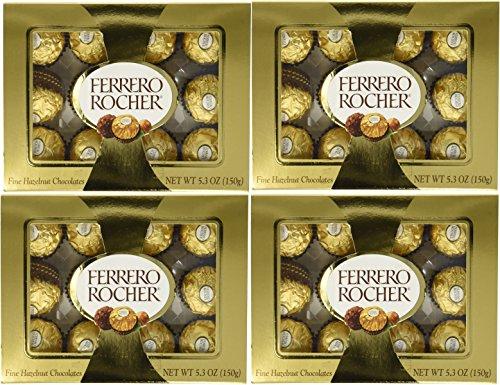 (Ferrero Rocher Fine Hazelnut Chocolate 5.3oz (Pack of 4) - 12 pieces each pack )