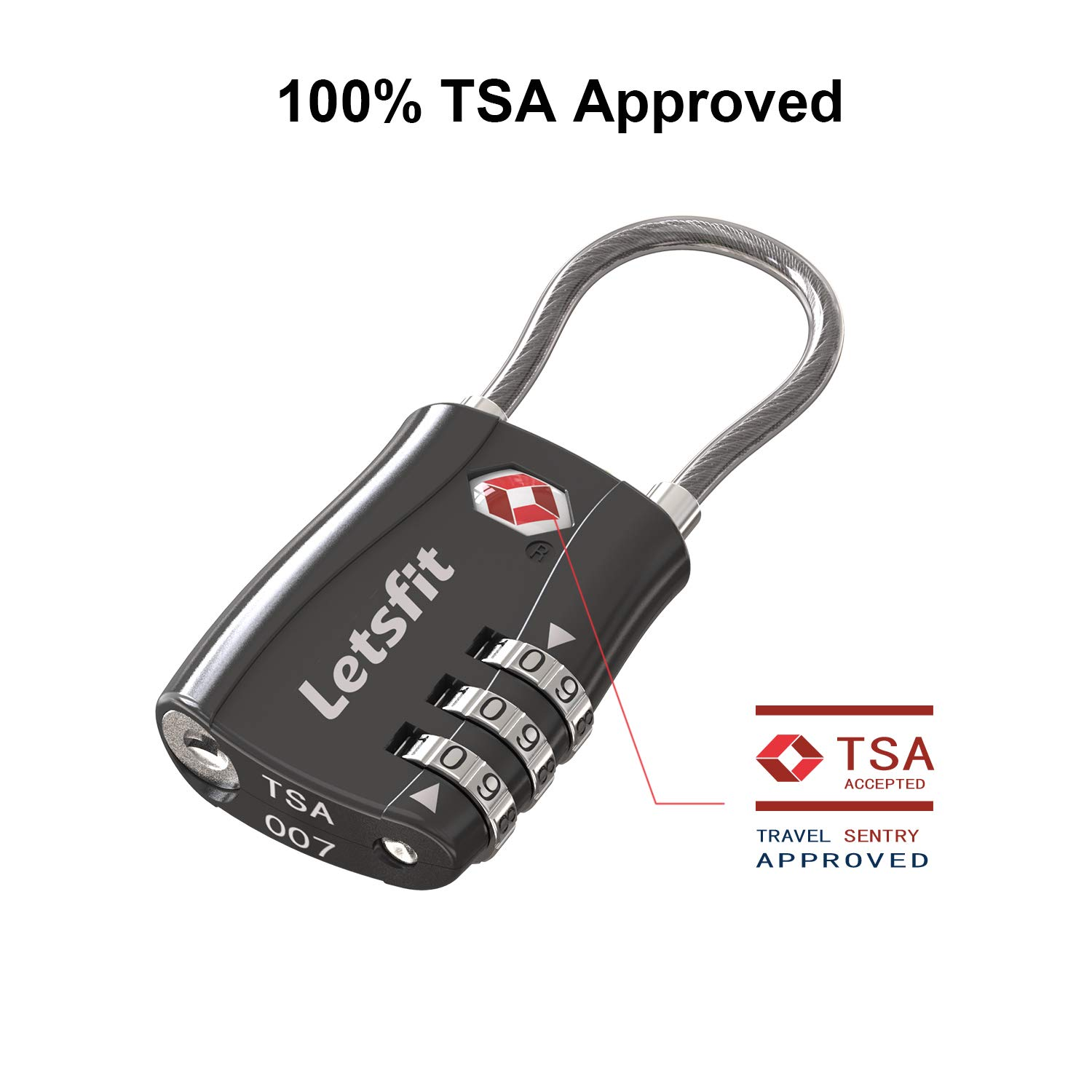 TSA Approved Luggage Lock, Letsfit Travel Lock for Suitcases, Small Padlock for Luggage, 4 Pack Black