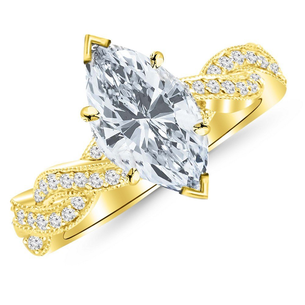 1.28 Cttw 14K Yellow Gold Marquise Cut Vintage Eternity Love Twisting Split Shank Diamond Engagement Ring With Milgrain with a 1 Carat H-I Color SI2-I1 Clarity Center by Chandni Jewels (Image #1)