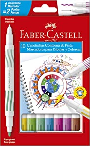 Canetinha Hidrográfica Ponta Dupla 10 Cores, Faber-Castell