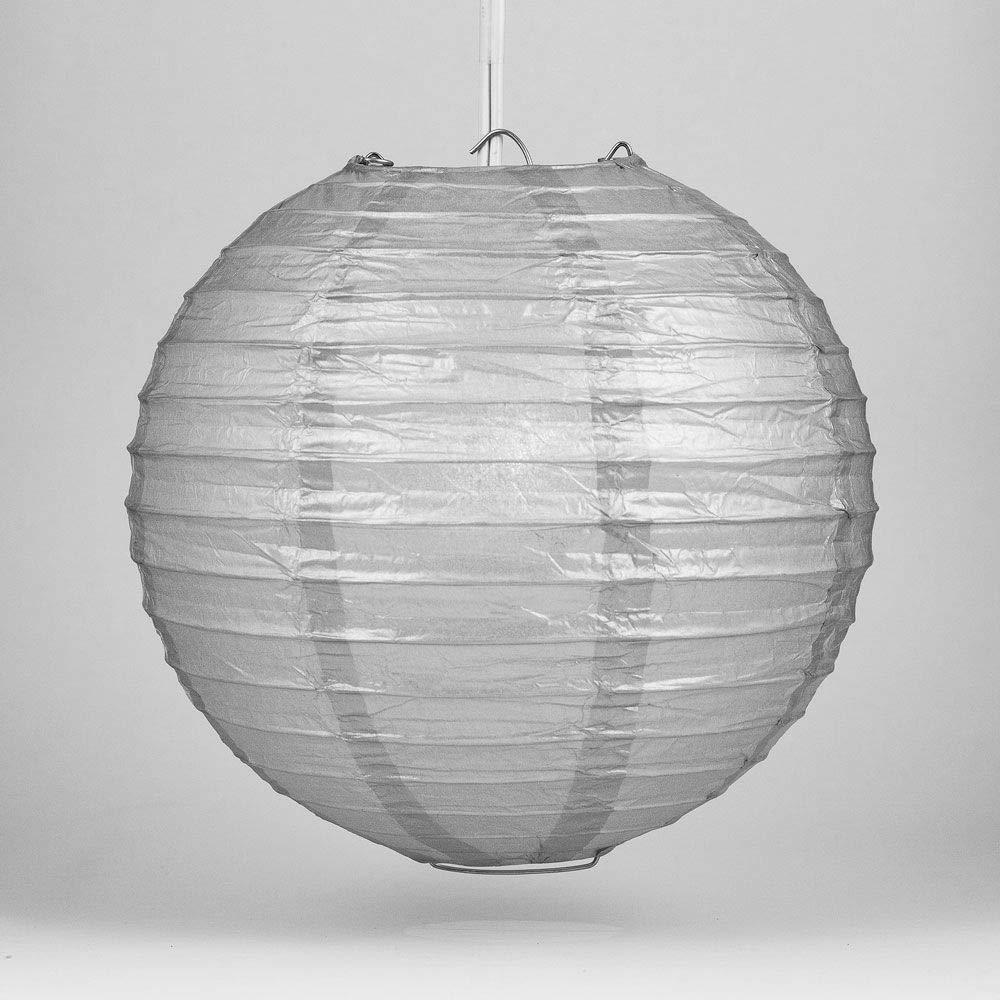 Quasimoon PaperLanternStore.com 36 Inch Silver Round Paper Lantern, Even Ribbing, Hanging Decoration