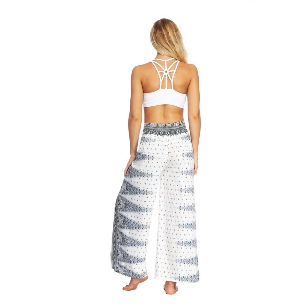Women Baggy Boho Aladdin Harem Wide Leg Pants Casual Summer Loose Yoga Thailand Indonesian Digital Print Trousers (M, White)