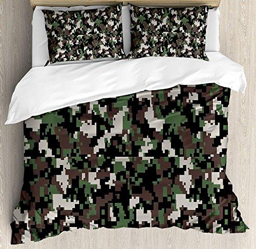 Camo Duvet Cover Set Queen Size,Pixelated Pattern Digital Effect Modern Conceptual Camouflage Texture Theme Art,Lightweight Premium Teen Adults Bedroom Bedding Sets,Army Green Beige Brown -