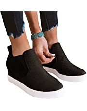 Ruanyu Womens Platform Wedge Sneakers Chelsea Slip On Fashion High Top Walking Booties