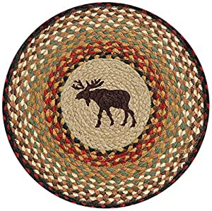 """Earth Rugs 49-CH019 Moose Printed Round Chairpad with Matching Tie, 15.5"""""""