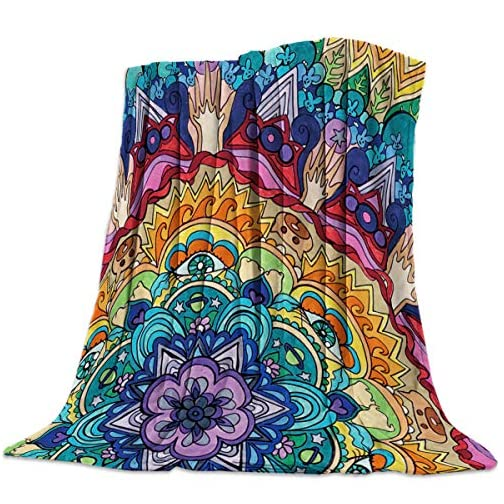 Mandala Flannel Fleece Throw Blanket Home Decorative Warm Plush Cozy Soft Blankets for Chair/Bed/Couch/Sofa Colorful… |