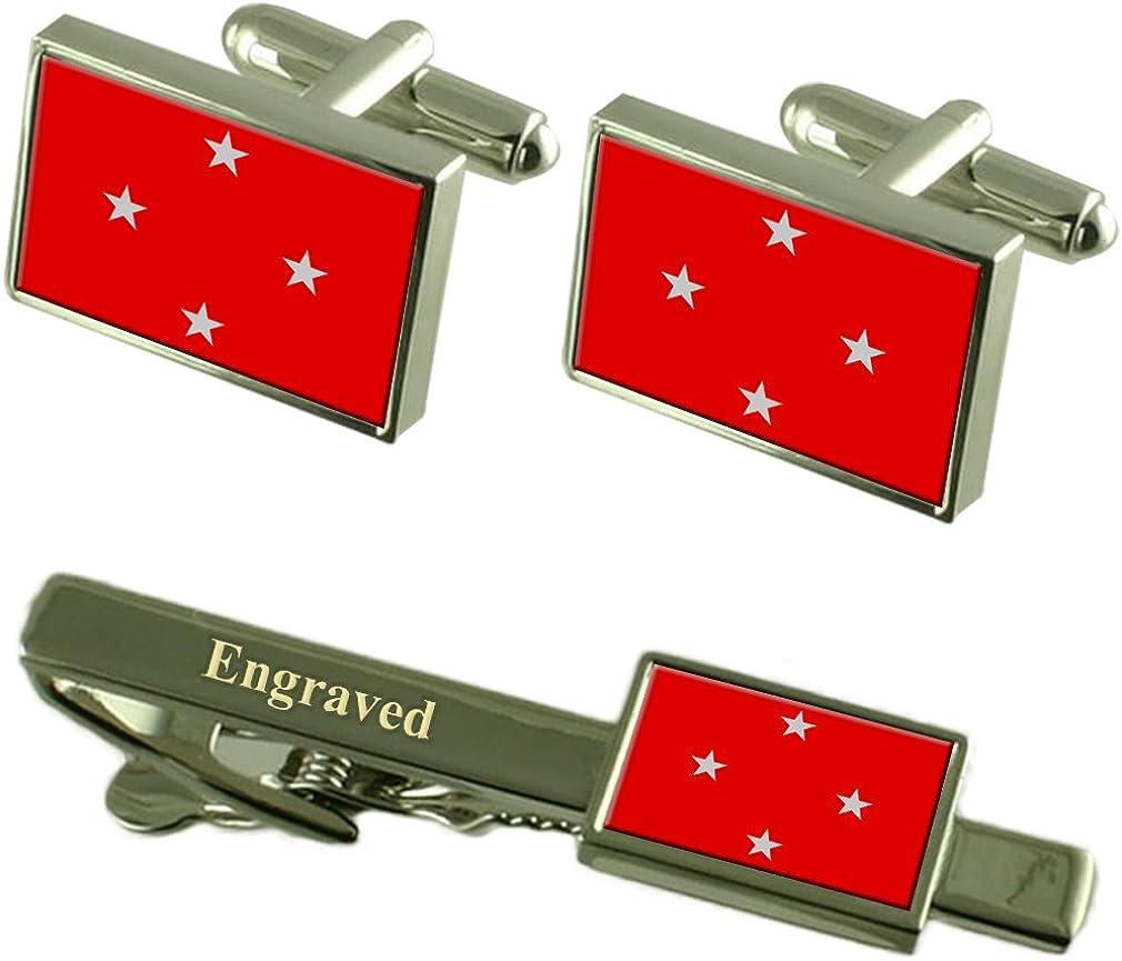 Londrina City South Region Flag Cufflinks Engraved Tie Clip Set