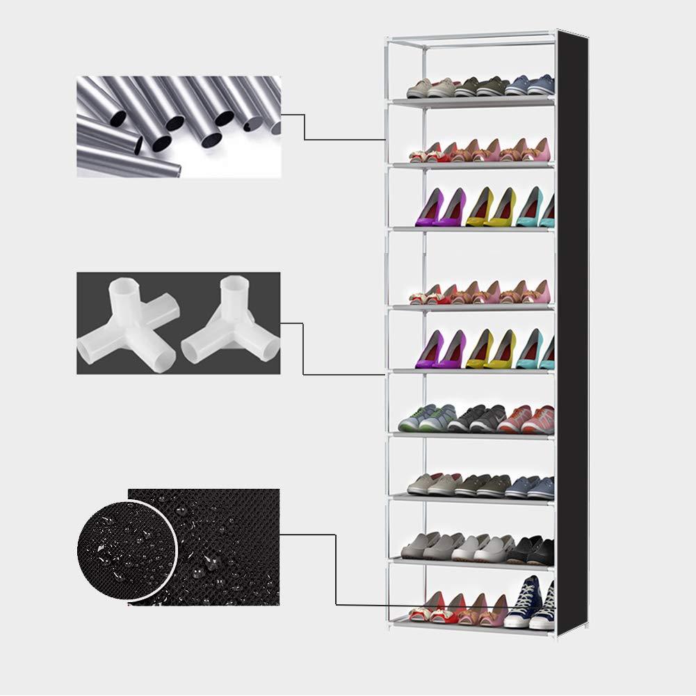 CLIPOP Zapatero de 10 niveles con soporte para zapatos organizador de almacenamiento torre para hasta 27 pares de zapatos con tela Oxford a prueba de polvo 60 x 30 x 160 cm Gris