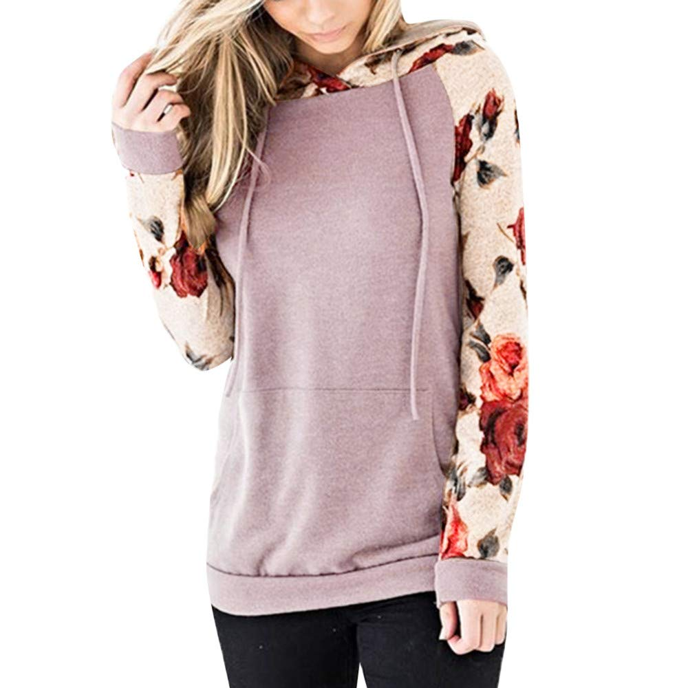 Women Long Sleeve Hoodies Pullover Teen Girls Sweatshirts Floral Printed Stitching Shirts Sweater Blouse Tops