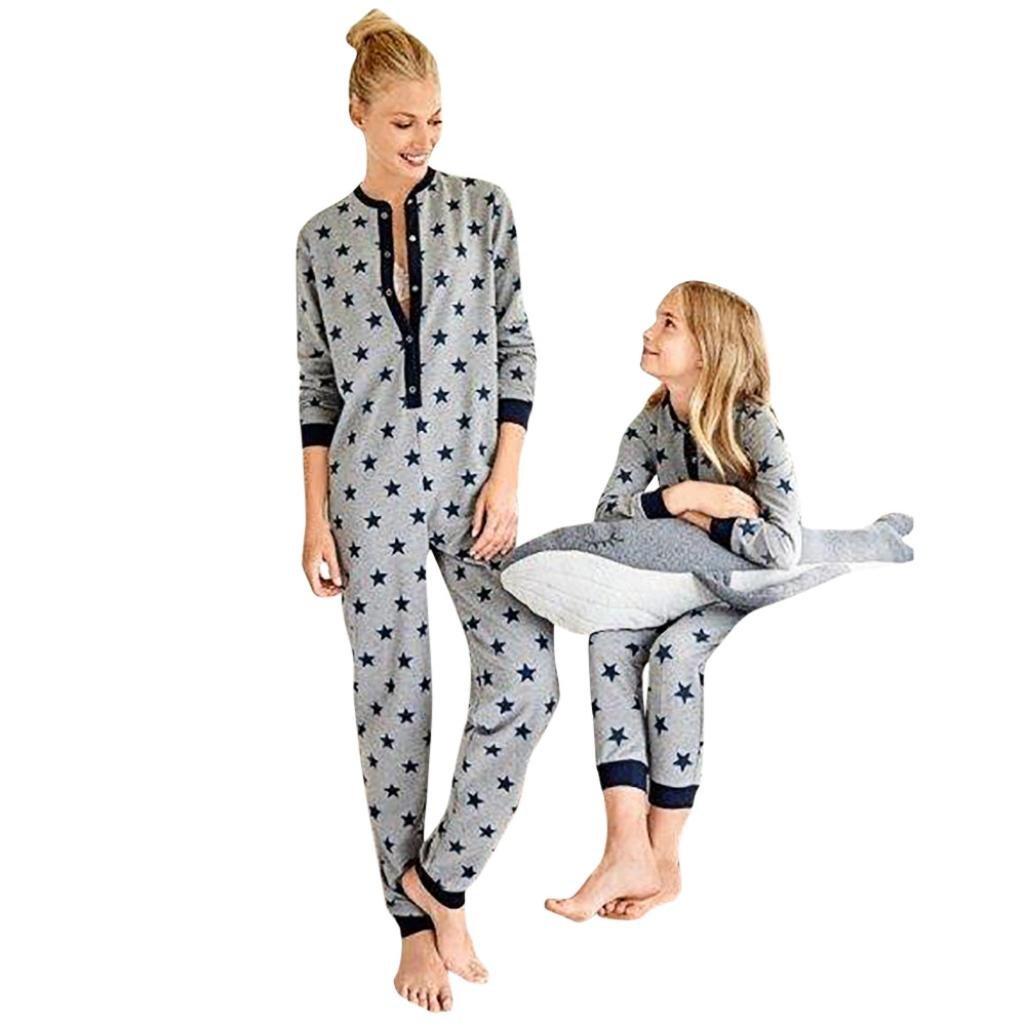 Raptop Women&Kid Pyjamas Long Sleeve Ladies Star Printed Jumpsuit Family Nightwear Gray (Mom), US XS/Asia S