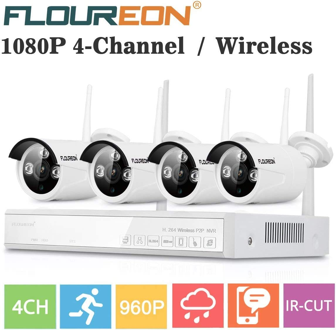 FLOUREON Wireless Home Security Camera System 4CH 1080P NVR Kits 4 Pack 960P 1.3MP HD Wireless IP Camera Network WiFi Night Vision Remote Access Motion Detection 4CH 4X 960P Camera