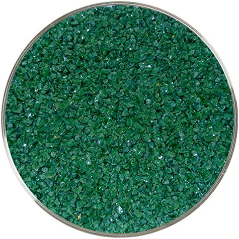 96COE Made from System 96 Glass 8oz Green Opalescent Coarse Frit