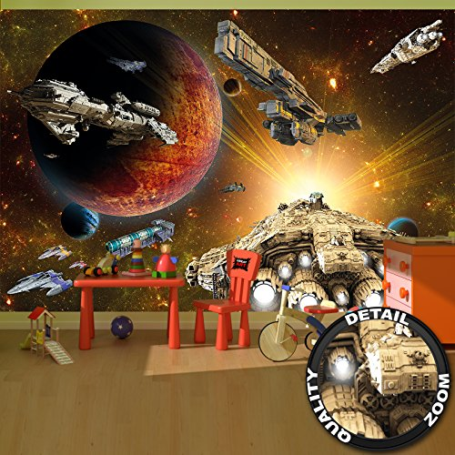 GREAT ART Wallpaper Galaxy Adventure Wall Decoration Space Flight Mission Poster Space Shuttle Universe Star (132.3 x 93.7 Inch) ()