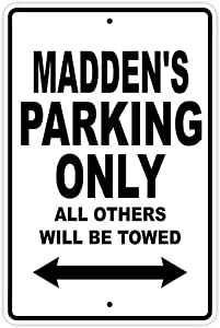 """Metal Plaque 16""""x12""""Maddens Parking Only Sign,Decor for Coffee Office Pool Yard Public Toilet Parking Home Wall Decor,Vintage Art Poster,Home Wall Decor"""