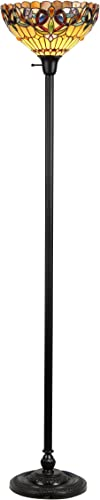 Chloe Lighting CH33353VR14-TF1 Serenity Tiffany-Style Victorian 1 Light Torchiere Floor Lamp 14 Shade