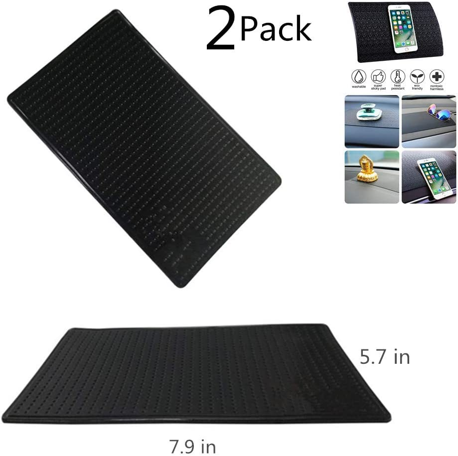 2PACK Sticky Anti-Slip Gel Pads for Car Dashboard Rubber Pad Sticky Gel Pad,2 pcs Silicone Car Pad Mat,Non Slip Pad Mats