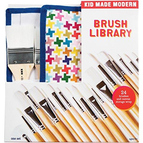 Kid Made Modern Brush Library Set - Kids Arts & Crafts Supplies | Paint Brush Kit | Set of 24