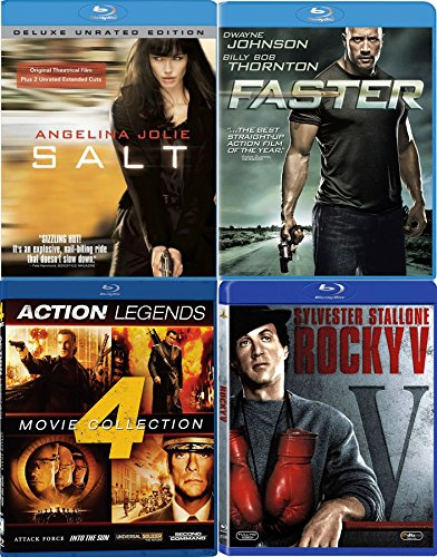 Action Four Film Favorites Blu Ray Faster The Rock / Salt Angelina Jolie / Rocky V Stallone / Legends Universal Soldier / Second Command / Attack Force / Into the Sun Seagal + Van Damme Bundle