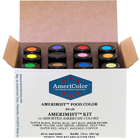 Amazon.com: Food Coloring AmeriColor AmeriMist Airbrush Kit, 12 .65 ...