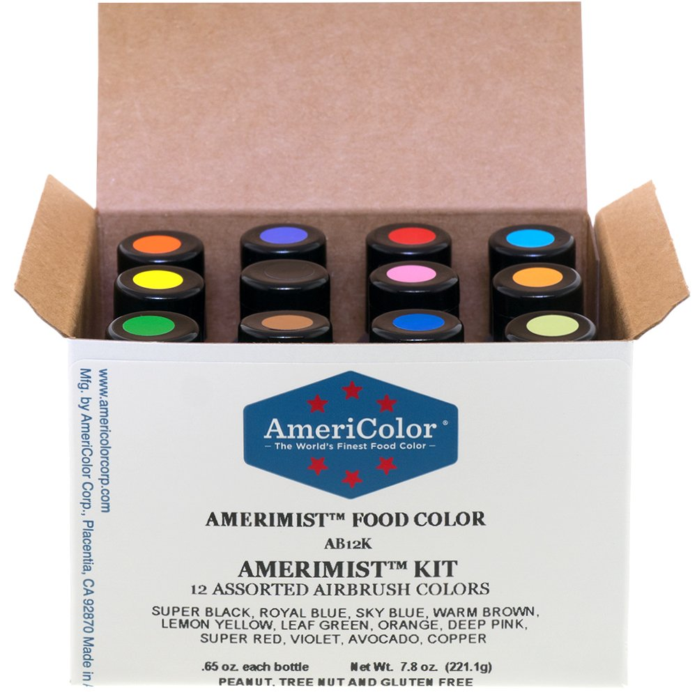 Food Coloring AmeriColor AmeriMist Airbrush Kit, 12 .65 Ounce Bottles by AmeriColor