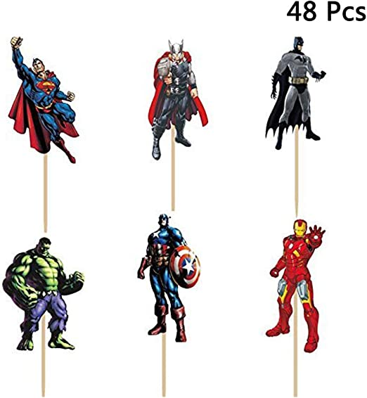 Fine Amazon Com Finduat 48 Pack The Avengers And Superheros Cupcake Funny Birthday Cards Online Elaedamsfinfo