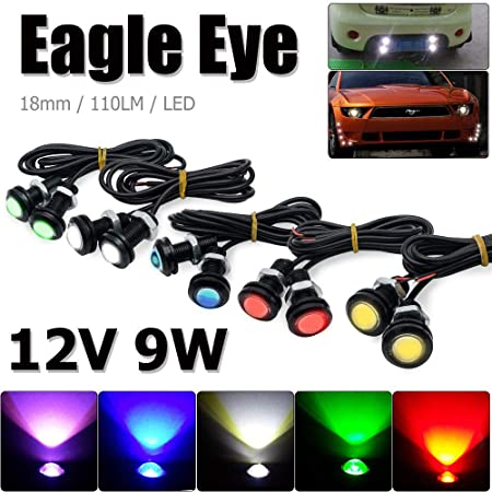 LED Eagle Eyes Maso 2 Pcs 12V 9W Car Daytime Running DRL Tail Light Backup Lamp Reversing with Screw For Motorcycle Cars Green