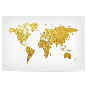 Amazon.de: artboxONE Poster 30x20 cm Reise World Map Gold ...