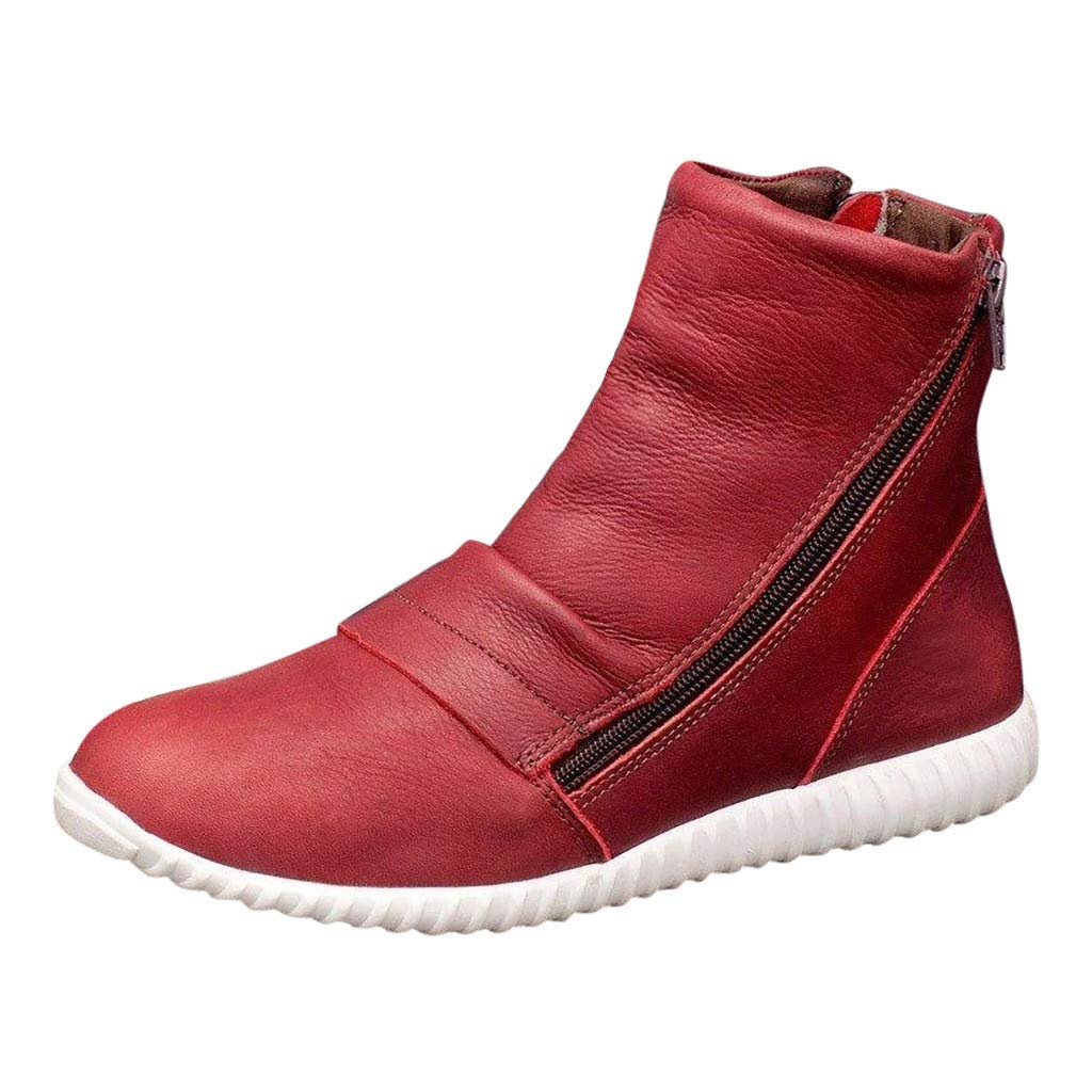 Women's Casual Flat Leather Retro Ankle Boots Side Zipper Round Toe Shoes Bootie, Red, 8.5 M US by OcEaN Shoes