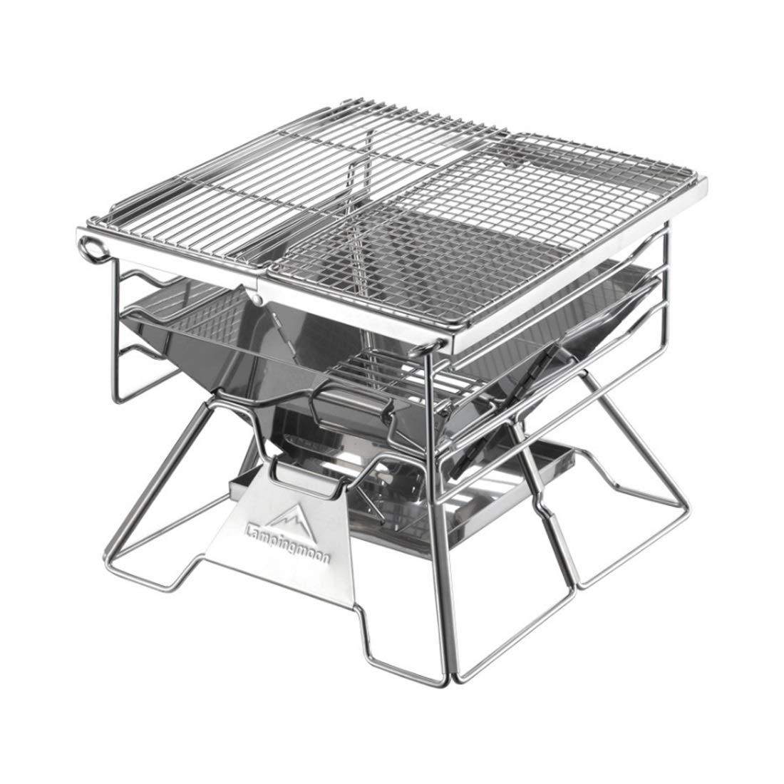 WEATLY Edelstahl-Grill-im Freien beweglicher zusammenklappbarer Grill-Haushalts-Holzkohle-Grill