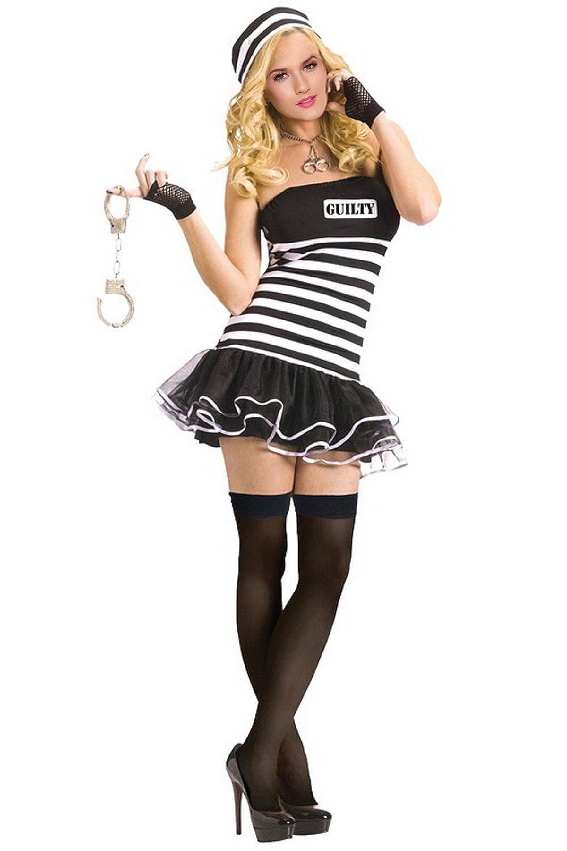 19f9fce29a5 One size fit S M L XL (8-14) Prisoner Costume Women includes Dress