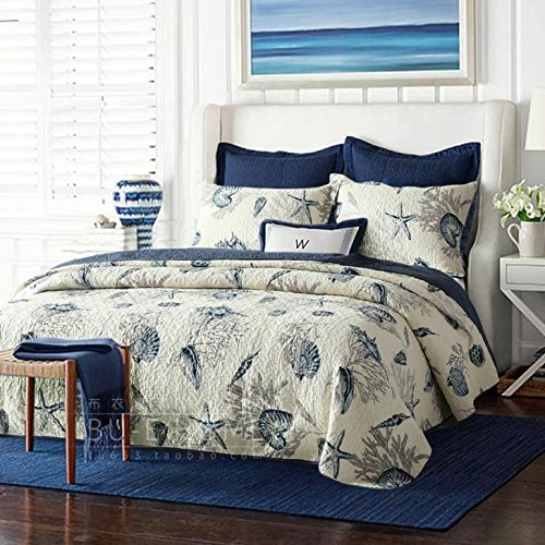 Queen Size Blue Ocean Comforter Set Nautical Bedding Set - Brandream