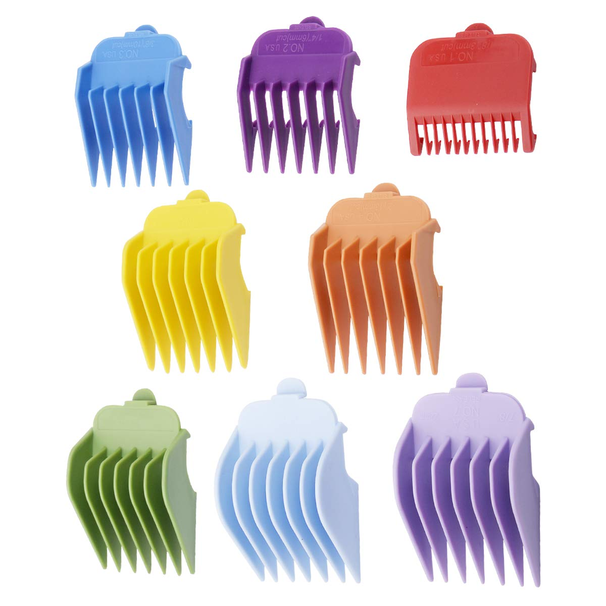 "Professional Hair Clippers Guides Combs 8 pack - 1/8"" to 1 for Full Size Standard Adjustable Wahl Clippers/Trimmers #3170-400,Colorful"
