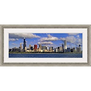 GREATBIGCANVAS Illinois, Chicago, Panoramic View of an Urban Skyline by The Shore Silver Framed Wall Art Print.