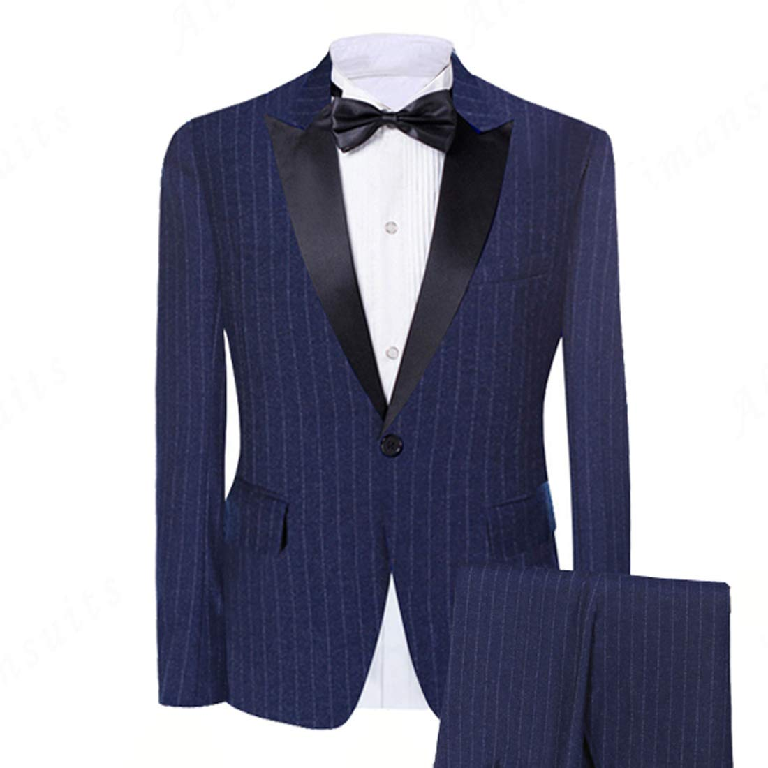 Abruzzomaster Pinstripe Groom Tuxedos Pesked Lapel Groomsman Suit Blue Striped Man Suit Woolblend Formal Suits