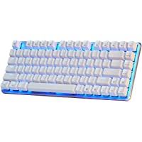 Mechanical Gaming Keyboard Blue Backlight GATERON Blue Switch 82-Keys(80%) Wired Mini Design Keyboard-Case White by Qisan