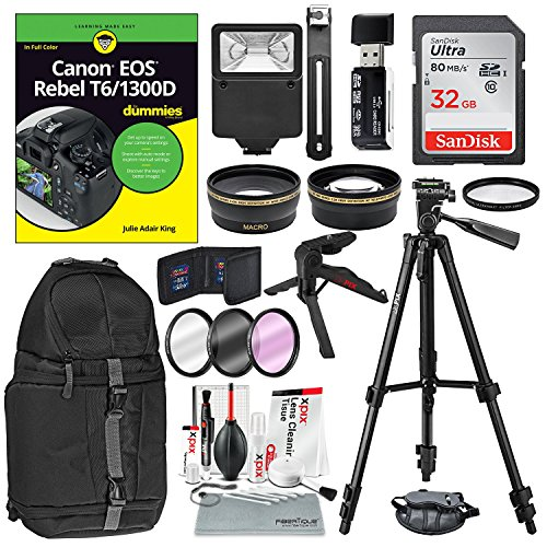 Canon EOS Rebel T6/1300D for Dummies + Deluxe Accessory Bundle with Tripods, Lenses, Filters, 32GB, DSLR Backpack, Lenses, Xpix Cleaning Kit by Photo Savings