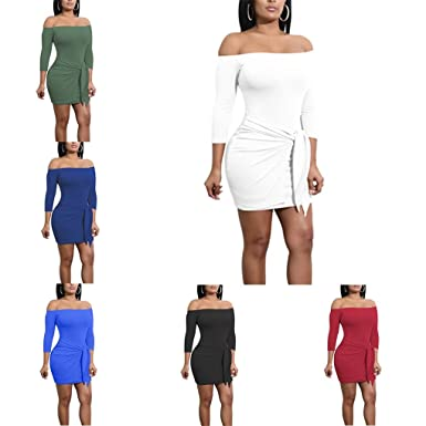 26d5d1ae6a83a Republe Women Ladies Off Shoulder Pure Color Midi Dress 3/4 Sleeve Bodycon  Above Knee Sexy Fitted Dress: Amazon.co.uk: Clothing