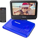 "TENKER 9.5"" Portable DVD Player with Swivel Screen, Rechargeable Battery with SD Card Slot and USB Port (Blue)"