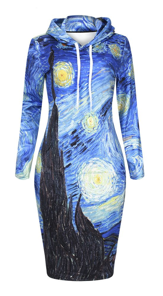 QZUnique Women's 3D Starry Night Print Pullover Hoodie Long Length Fleece Sweat Dress US L-XL