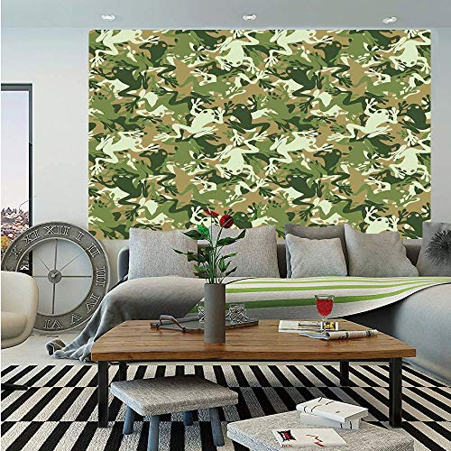 SoSung Animal Decor Removable Wall Mural,Skull Camouflage Military Design with Various Frog Pattern Different Tones ArtPrint,Self-Adhesive Large Wallpaper for Home Decor 66x96 inches,Sage Pine Green